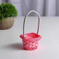Миниатюра кукольная - корзинка, цвет розовый