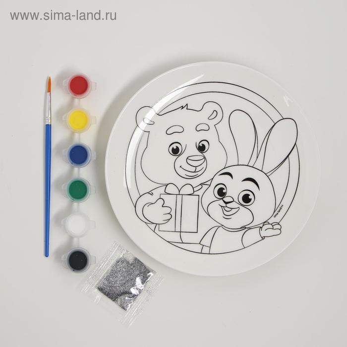 Набор для творчества «Роспись тарелки», Лучшие друзья - фото 2