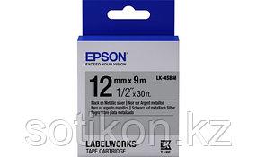 Лента Epson C53S654019 LK4SBM Металлик лента 12мм, Серебр./Черн., 9м