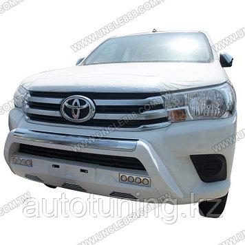 Губа (накладка переднего бампер) с ДХО на Toyota Hilux Revo 2016+