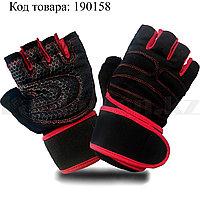 Перчатки для фитнеса и тренажеров турника противоскользящие (без пальцев) черно-красные