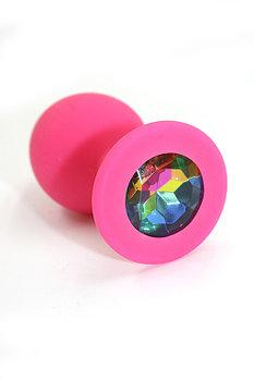 Розовая силиконовая пробка с кристаллом Unicorn от Kanikule, 3,5 см