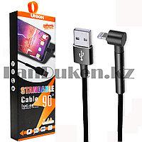 Зарядный USB кабель L образный Lightning длина 1 метр Moxom UC-08 2.4А черный