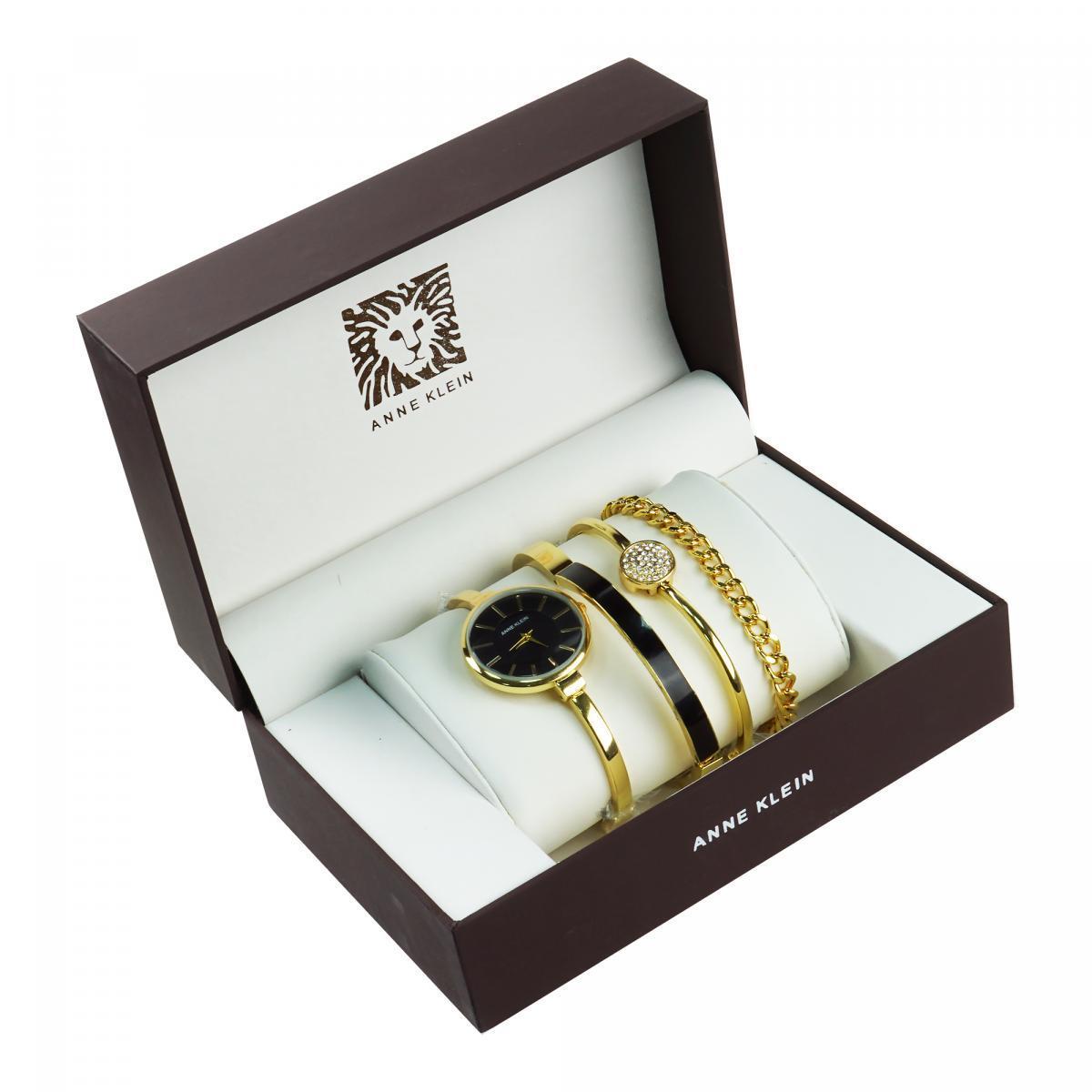 Уценка (товар с небольшим дефектом) Часы в подарочной упаковке Anne Klein золотистый + черный.
