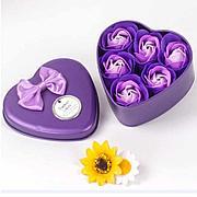 Уценка (товар с небольшим Ароматизированное мыло для ванны Розы с лепестками 6 шт фиолетовый набор.
