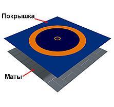Ковер борцовский трехцветный 12,7х12,7м с покрышкой, НПЭ толщина 4 см, фото 3