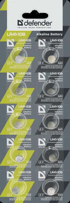 Элемент питания Defender LR 41-10B AG3,10 штук в блистере
