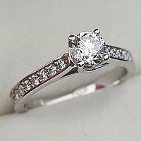 Золотое кольцо с бриллиантами 0.70Сt VS2/J VG-Cut, фото 1