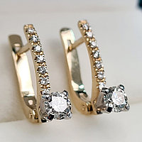 Золотые серьги с бриллиантами 0.75Ct SI2/K