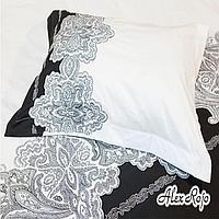 "AlexRojo Наволочка ""Asturias""  AlexRojo сатин делюкс  70х70 см белая с вышивкой"
