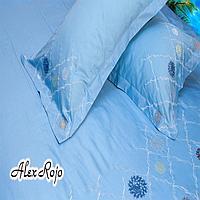 "AlexRojo Наволочка ""Canaria""  AlexRojo сатин делюкс  70х70 см голубая с вышивкой"