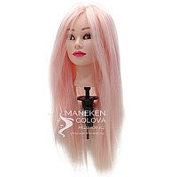 Манекен-голова, 60% натуральные, для плетения кос и стрижки, розовый, 65 см