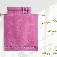 "Aquarelle Полотенце махровое  ""Бабочки""  35х70 см. цвет орхидея"