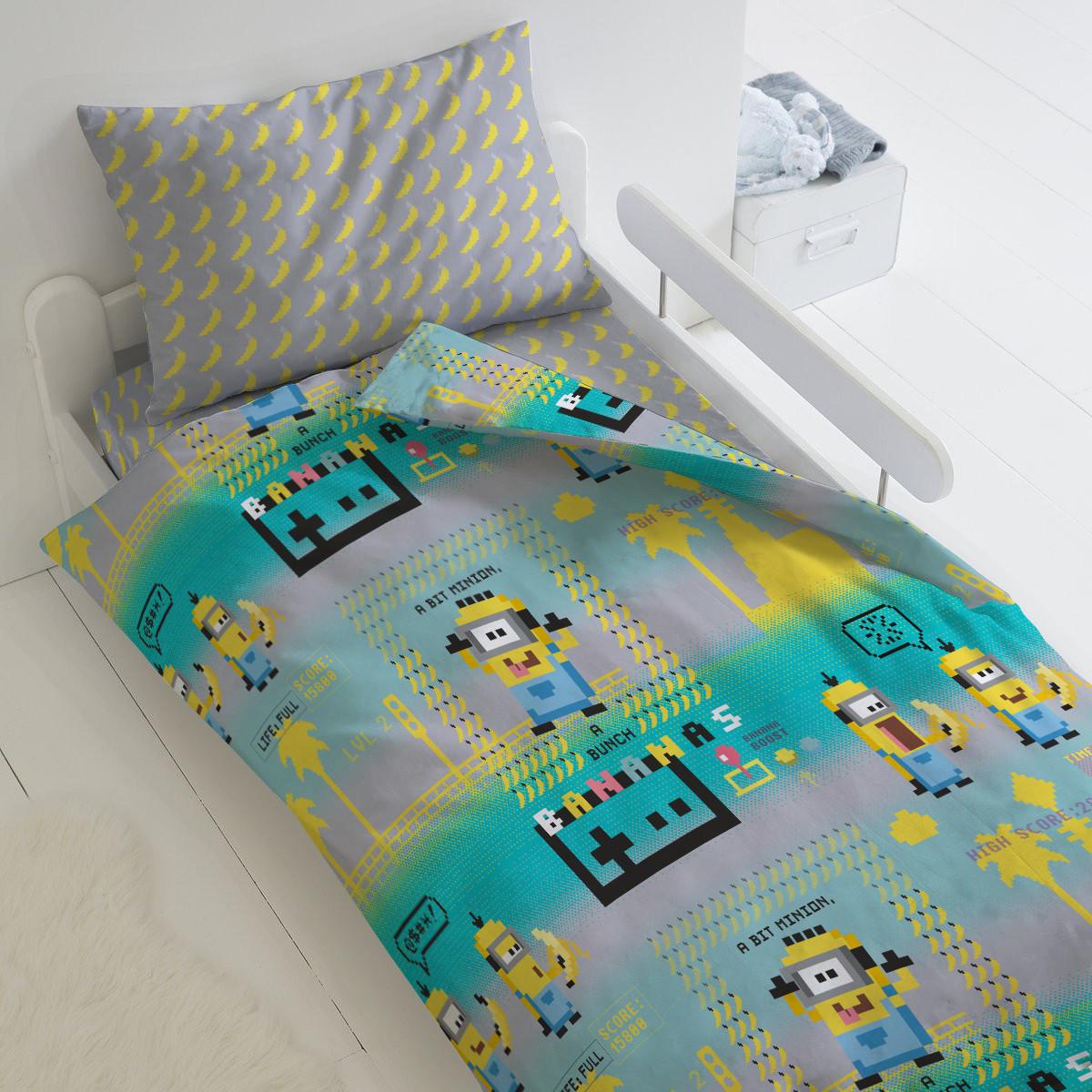 HOMY Комплект постельного белья Пиксели  миньоны,  HOMY  1.5 спальный