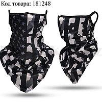 Бандана (бафф) дышащая ветро и солнцезащитная с ушками принт флаг США в камуфляже черный