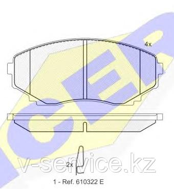 Тормозные колодки YOTO G-096(MD 3110)(REMSA 397.00)