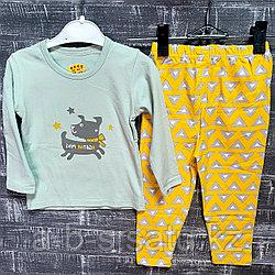 Детская пижама ментоловая с желтыми штанишками