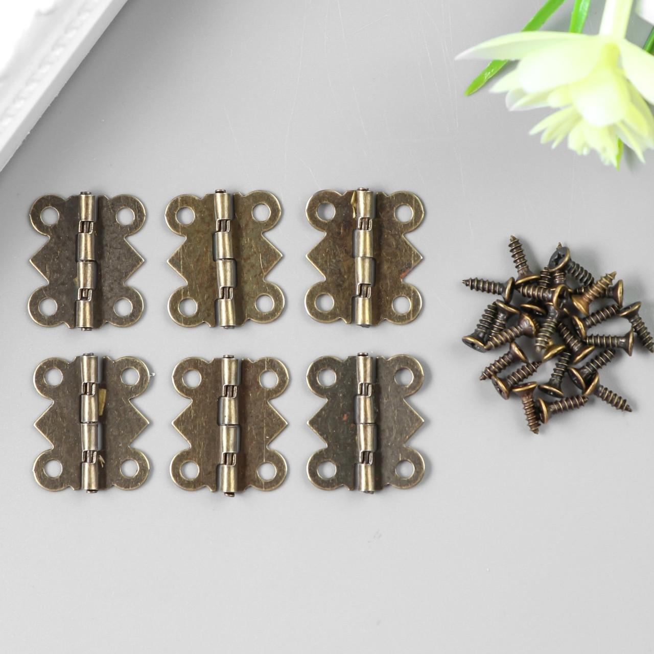 Петля для шкатулки металл фигурная бронза набор 6 шт 1,5х2,1 см