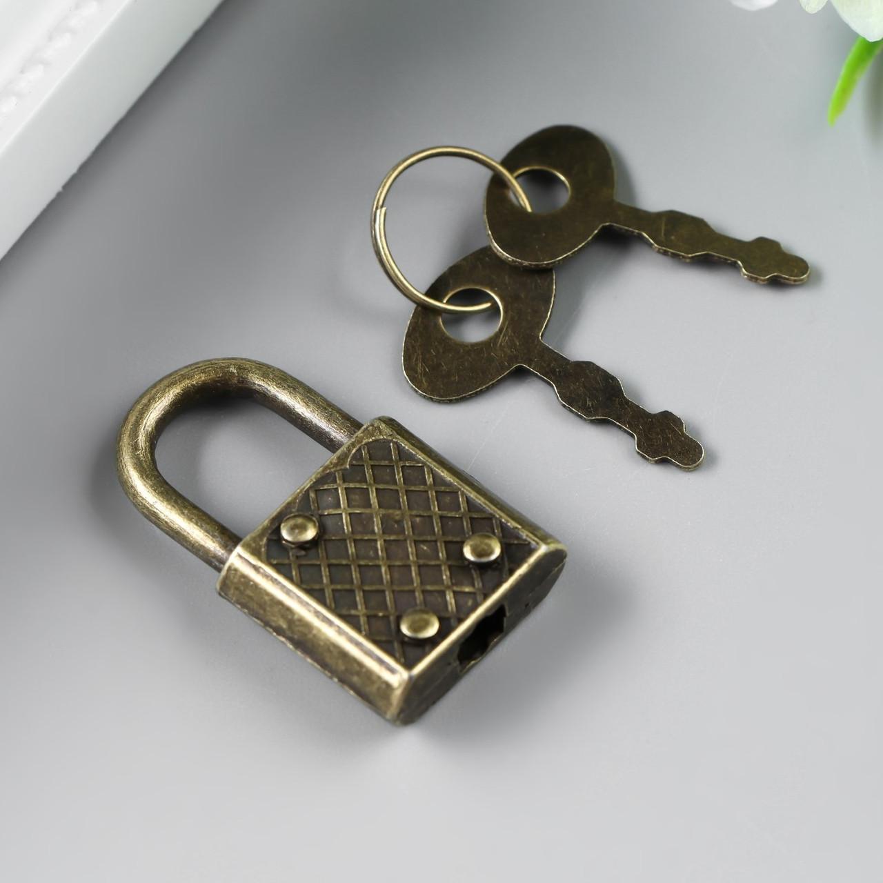 Замочек с ключиком для шкатулки металл набор 5 шт С286 бронза 3,1х1,7 см