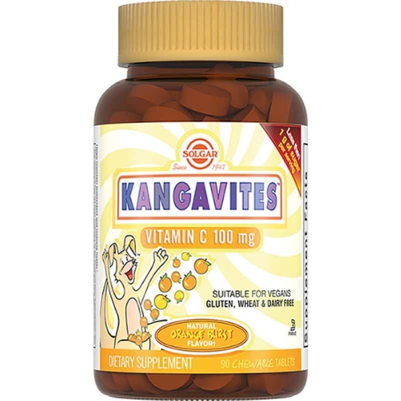 Solgar Кангавитес с витамином С 100мг со вкусом апельсина №90 таб