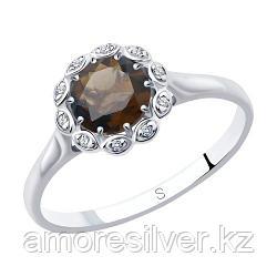 Кольцо SOKOLOV серебро с родием, раух-топаз фианит  92011640 размеры - 20