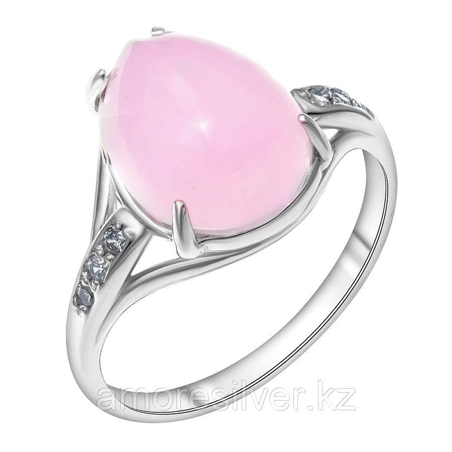 Кольцо Красная Пресня серебро с родием, кварц розовый фианит, , овал 2339678ДК размеры - 18
