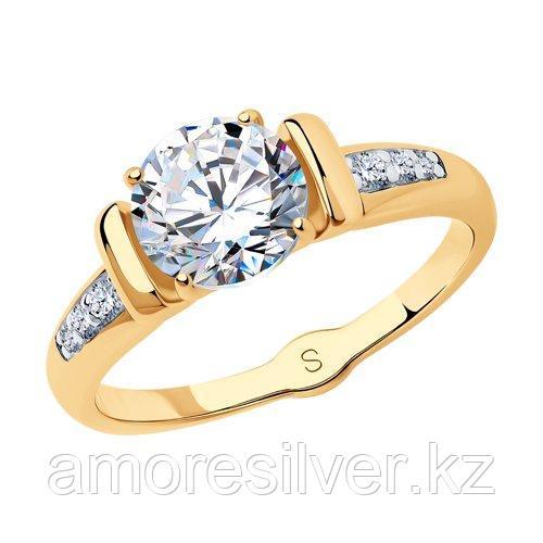 Кольцо SOKOLOV серебро с позолотой, фианит  93010783 размеры - 17 17,5 18,5 19 20 20,5 21 21,5