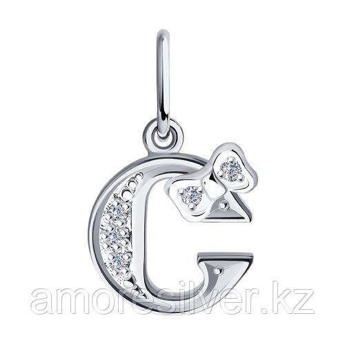 Подвеска-буква SOKOLOV серебро с родием, фианит  94030480