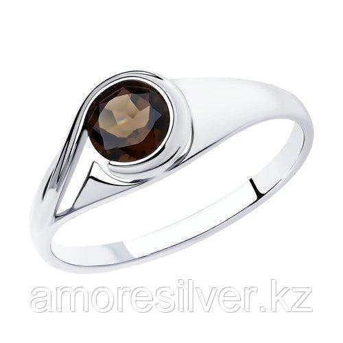 Кольцо SOKOLOV серебро с родием, раух-топаз 92011836 размеры - 16,5 21
