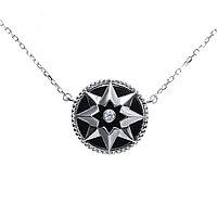 Колье TEOSA серебро с родием, керамика фианит, шпрингельный замок, символы ZCN-2288-BL размеры - 40