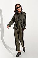 Женские осенние трикотажные зеленые брюки MilMil 1045 Авиньон 42р.