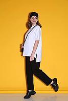 Женский летний трикотажный черный спортивный большого размера спортивный костюм Bliss 080 черный+белый 48р.