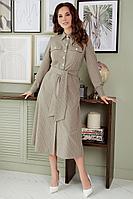 Женское осеннее бежевое нарядное платье Мода Юрс 2655 бежевый 48р.