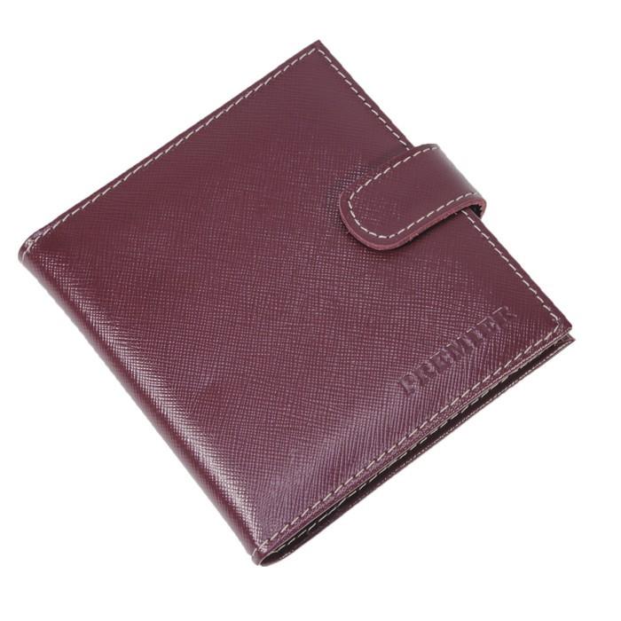 Кредитница, кнопка, натуральная кожа, сафьян, цвет бордовый/бежевый