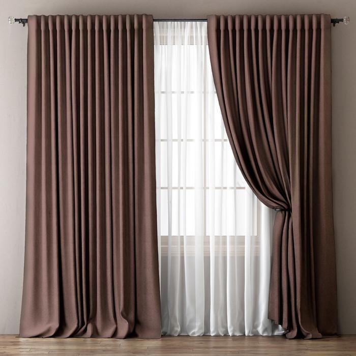 Комплект штор «Омма», размер 170 х 270 см, коричневый