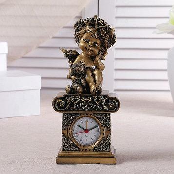 """Часы настольные """"Ангел с медвежонком"""", цвет золото, h=25.5 см, микс"""