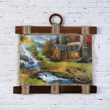 """Сувенир свиток """"Дом возле водопада"""""""
