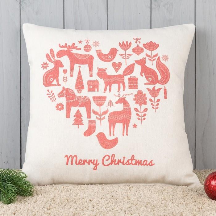 Подушка декоративная с фотопечатью «Счастливого рождества» 40х40 см