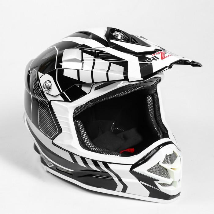 Шлем HIZER B6195-1, размер XL, белый, чёрный