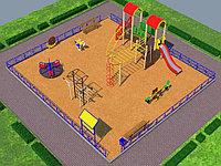 Детская площадка песочный городок, воркаут, качалка на пружине, качеля балансир, скамейки, урна