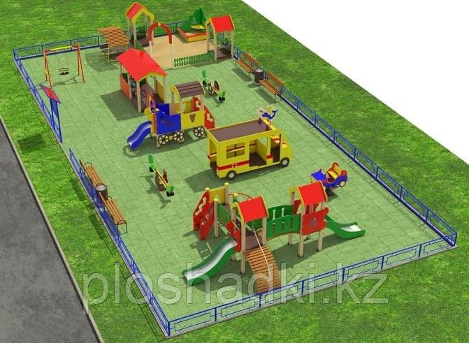 Детская площадка игровой комплекс, песочница, качалка на пружине, качеля балансир, качеля, скамейки, урны.
