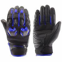 Перчатки кожаные Stinger чёрный, синий, XL