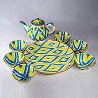 Чайный сервиз желто-голубой
