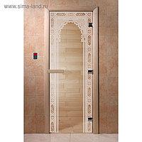 Дверь «Восточная арка», размер коробки 200 × 80 см, левая, цвет прозрачный