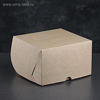 Упаковка для капкейков на 4 шт, без окна, крафт 16 х 16 х 10 см