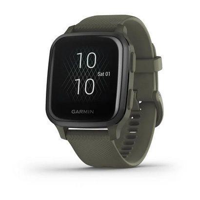 Спортивные часы Venu Sq Music Slate Aluminium Bezel with Moss Case and Silicone Band