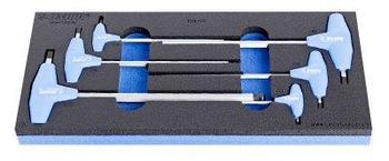 Набор ключей шестигранных с закруглённым жалом с Т-образной рукояткой в SOS-ложементе - 964/13SOS UNIOR