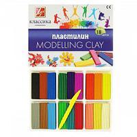 Пластилин 18 цветов 360гр Луч Классика со стеком картонная коробка