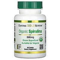 California Gold Nutrition, органическая спирулина, сертификат USDA Organic, 500 мг, 60 таблеток