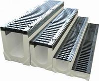 Лоток водоотводный бетонный с решеткой щелевой чугунный ВЧ кл.Е в комплекте  длина 1000 ширина 200  высота 270